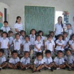 Children in their new uniforms.